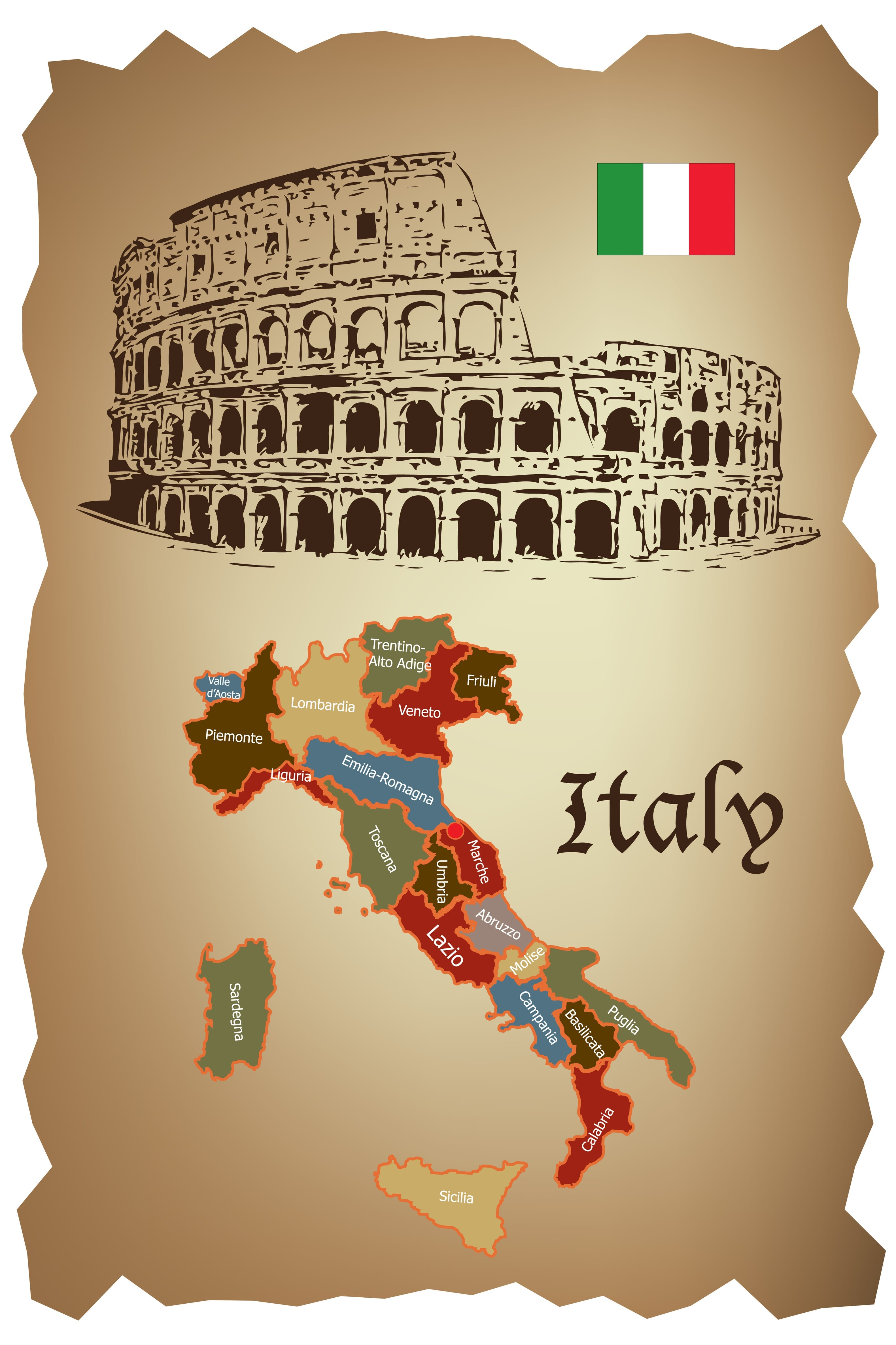 Italy map and Colloseum